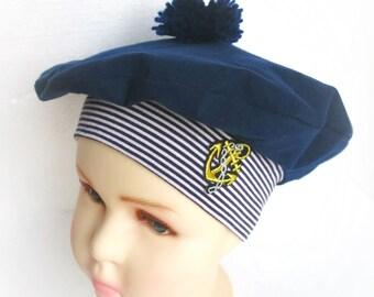 458d3751d4ba8 Kids beret hat Navy blue Nautical beret hat