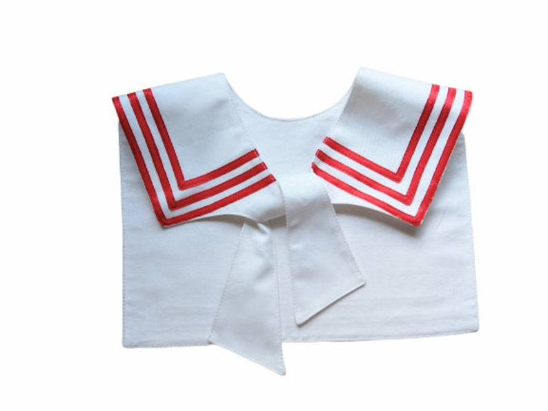 Edwardian Blouses | White & Black Lace Blouses & Sweaters Sailor collar white with red strips $20.98 AT vintagedancer.com