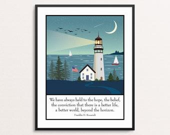 Lake In Austria Art Print Home Decor Wall Art Poster Lighthouse D