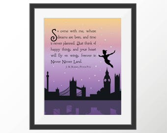 Peter Pan Art Print Quote Neverland Kids Room Kids Wall Art Nursery Decor Art Prints Storybook Book Quotes Literature