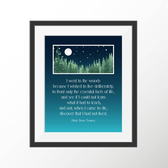 henry david thoreau walden nature art print book quotes