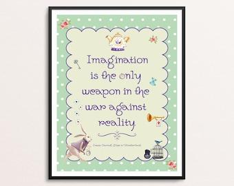 Alice in Wonderland Print | Lewis Carroll | Storybook Art Print | Kids Room Art | Imagination Print | Nursery Art | Literature Quote
