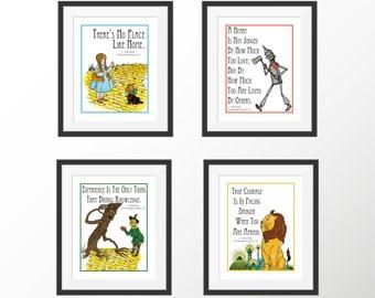 Wizard of Oz Storybook Kids Room Decor Nursery Decor Art Prints Dorothy Baum Book Quotes Literature Kids Wall Decor Art Print Set