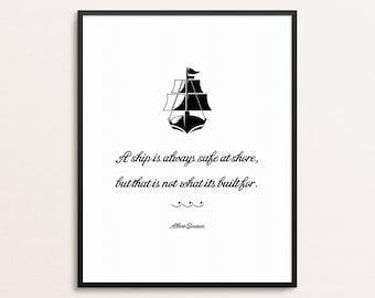 Albert Einstein Quote Print | Ship Wall Art | Entrepreneur Gift | Office Decor | Motivational Print | Modern Poster | Typography Print