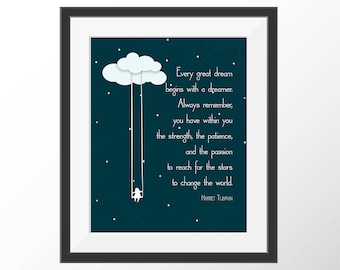 Harriet Tubman Dreamer Art Print | Reach for the Stars Quote Print | Nursery Art | Kids Room Decor | Wall Decor | Graduation Gift
