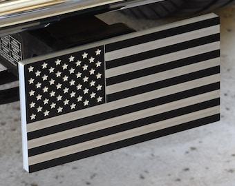 American Flag - Billet Aluminum Trailer Hitch Cover - Tactical Black