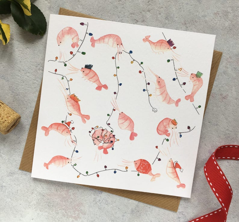 6aacc50e0f8976 Party Prawns Christmas Card shrimp party crowns christmas