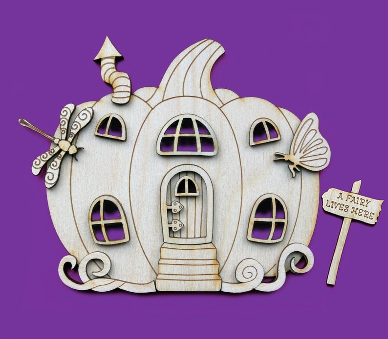 Fairy House Pumpkin Door 3D Wooden Elf Shapes Pixie Plywood 3D NEW PMP1