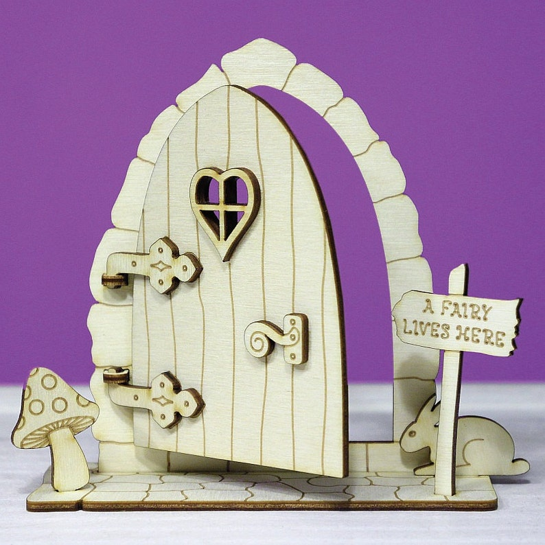 Fairy Door 3D Opening Wooden Elf House Stone Plain Blank Craft Shapes Pixie Shelf Plywood OFD3