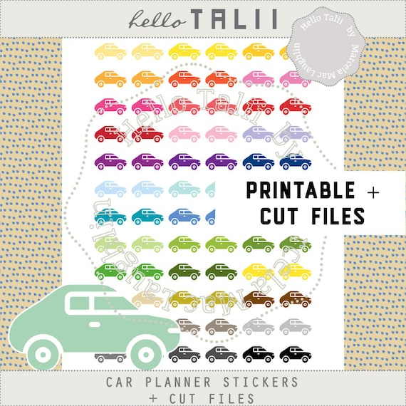 Car Stickers Rainbow Cars Planner Stickers Printable Cut Files Oil Maintenance Oil Change Car Wash Repair Service Gas Refill Reminders