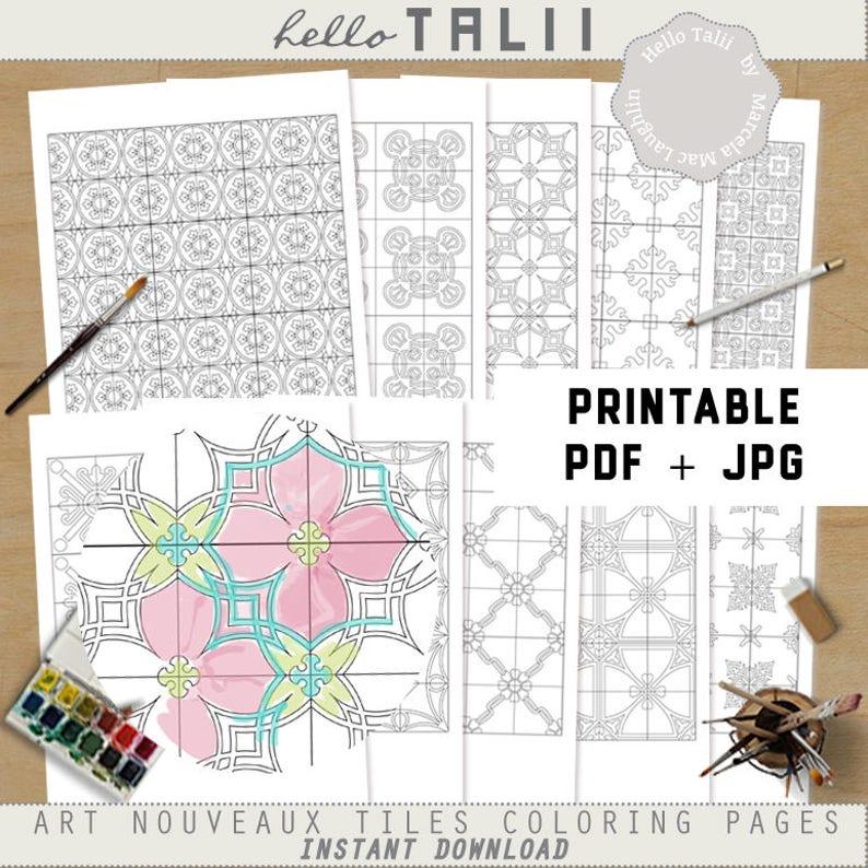 10 Mozaiki Kolorowanki Dla Dorosłych Art Nouveaux Tiles Wzory Etsy