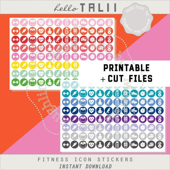 Fitness Planner Stickers Wealth Icons Stickers Printable Pdf Etsy