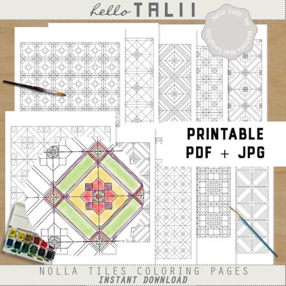 Páginas para colorear para imprimir azulejos geométricos | Etsy