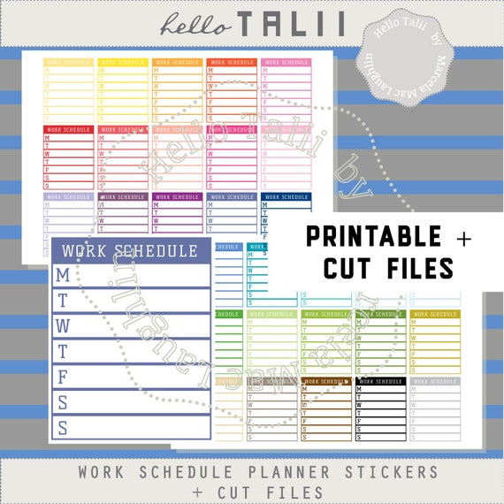 work stickers weekly work schedule printable stickers for etsy