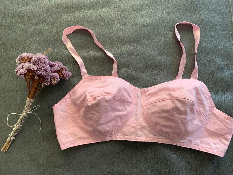 Soviet Vintage Lingerie Vintage Pink  Cotton Bra Cotton Lingerie