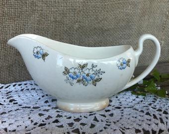 Soviet Vintage Porcelain Gravy Jug, Gravy Boat, PFF Riga Porcelain Factory, White Porcelain, Blue Flowers.