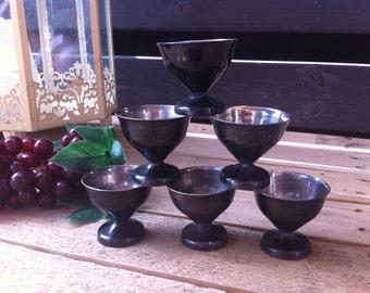 Soviet Vintage Melchior Vodka Cup, Shot Glasses, Metal Cup, Set of 6, made in UssR