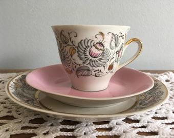 Soviet Vintage Porcelain, RPR Riga Porcelain Factory Espresso or Coffee Cup, RPR Saucer, Plate.