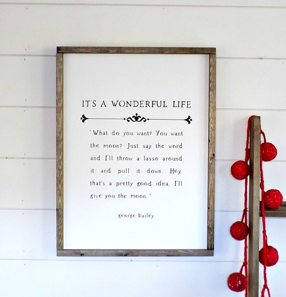 It's a Wonderful Life Sign - Christmas Sign - Book Page Sign - Farmhouse Sign - Painted Wood Sign