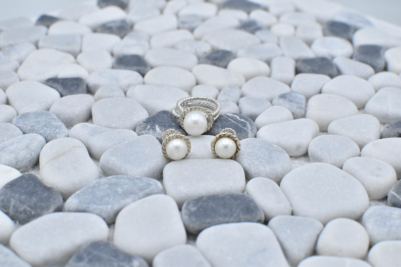 Sterling Silver Ring and Earring Pearl Twisted Rope Style Set