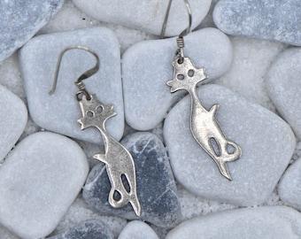Sterling Silver Fox Wire Dangle Earrings