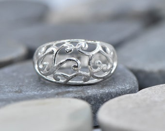 Sterling Silver Vine Floral Ring