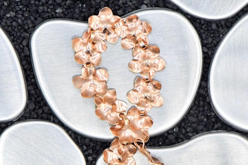 14K Rose Gold Flower 7.25 inch Bracelet