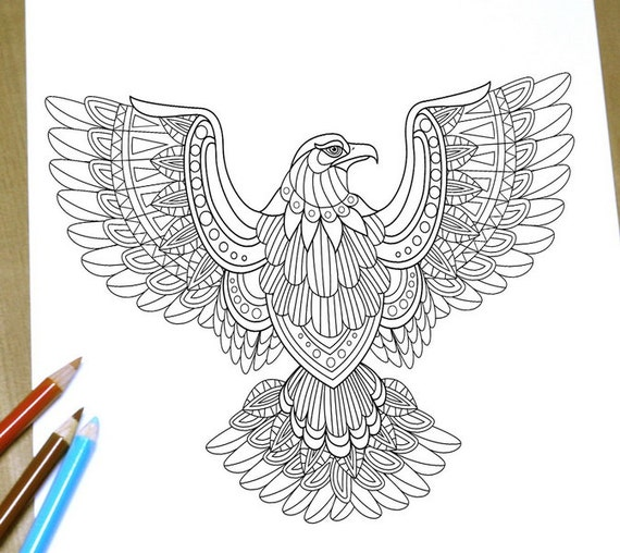Flying Eagle Coloring Page Adult Print