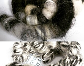 """Rolags/ skeins """"Positive Space/ Neg. Sp."""" (Phatfiber Box), wool roving or skein, rolags or yarn"""