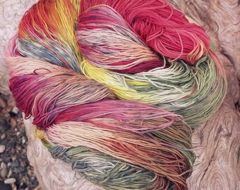All-naturally dyed merino superwash lace weight yarn, OOAK yarn 'A Dash of Colour', naturally dyed merino yarn