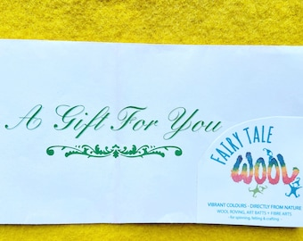 Fairy Tale Wool Gift Certificate, mailed or electronically sent, gift certificate
