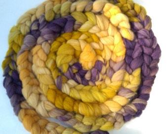 Naturally dyed hand painted merino braid, organic merino roving 'Eggplants and Mustard'