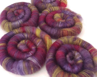Naturally dyed art batt/ set of rolags 'Prince would have liked it' wool, alpaca and tussah silk roving with a bit of sparkle (Phatfiber)