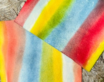 All-Naturally Dyed 100% wool rainbow felt sheets, naturally dyed rainbow felted wool fabric