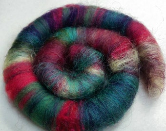 Naturally dyed art batt/ set of rolags 'Ingredients for Ratatouille' wool and silk roving (Phatfiber)