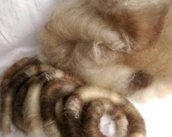 Lover of Naturals art batt/ set of rolags, wool and silk roving