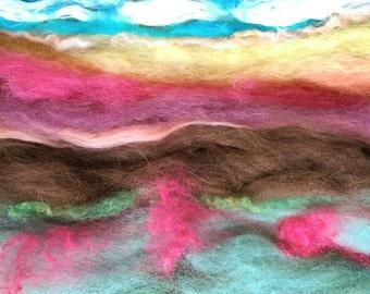 """Naturally dyed """"Alpaca Landscape"""" art batt/ set of rolags, textured wool, silk, linen and milk fiber roving"""