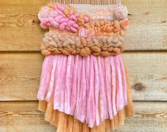 Weaving/ Tapestry 'Natural Bubble Gum', wall hanging, tapestry weaving, wall decor, one of a kind fibre art