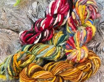 All-naturally dyed Funky Chunky Art Yarn, chunky yarn, handspun yarn, no waste yarn, core spun yarn