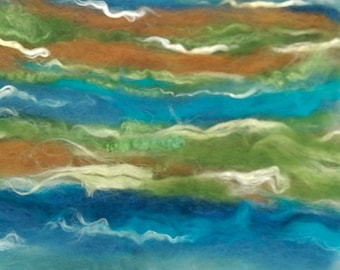 Naturally dyed 'Earth Day Celebration' art batt/ set of rolags, textured wool, silk and linen roving