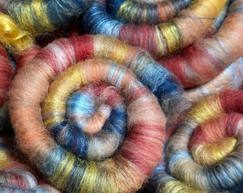 Naturally dyed set of rolags/ art batt 'Madonna with Child', wool and silk roving (Phat Fiber), Rolags and Art Batt for spinning and felting