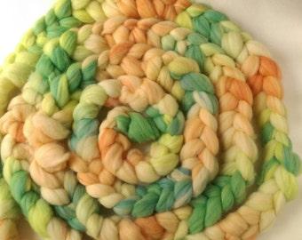 Naturally dyed hand painted merino braid, organic merino roving 'Aqua'