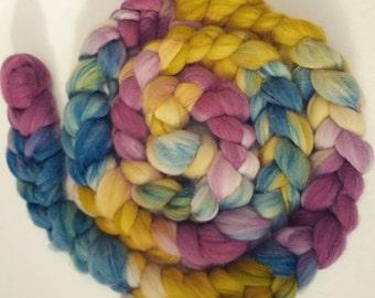 Naturally dyed hand painted merino braid, organic merino roving 'English Rose Garden'