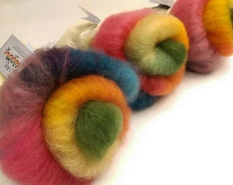 Naturally dyed Rainbow Fleece art batt/ set of rolags, wool roving