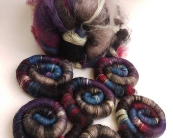 All-Naturally dyed art batt/ set of rolags 'Sunset's End' wool and mulberry silk roving (Phatfiber)