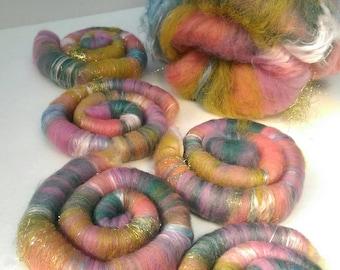 Naturally dyed art batt/ set of rolags 'Medusa's Summer' wool and silk roving