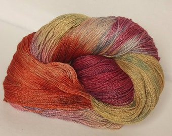 All-naturally dyed silk/ wool blend, fingering weight yarn 'A Spit of Colour', OOAK yarn, naturally dyed silk/ wool yarn
