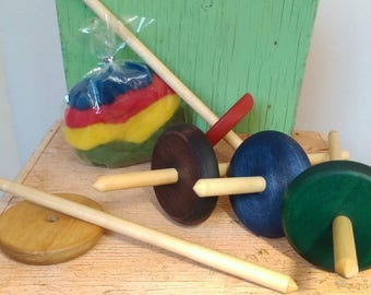 Collapsible Drop Spindle, low whorl spindle, hand spindle, wood spindle