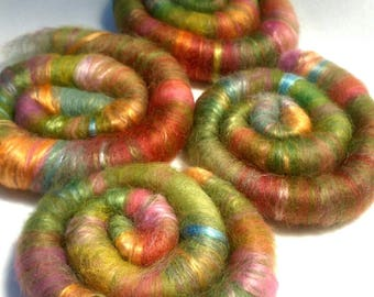 Naturally dyed art batt/ set of rolags 'A Busy Bee's Perfect World' wool and silk roving (PhatFiber)