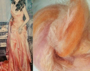 """Naturally dyed art batt/ set of rolags """"My Favourite Dress"""", smooth wool and silk roving"""